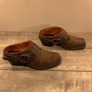 Frye Belted Harness Mules Boots Size 7.5